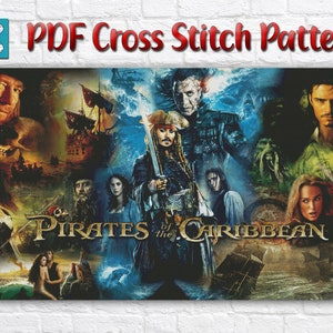 Pirates of the Caribbean Cross Stitch Pattern PDF Pirates Cross Stitch Johnny Depp Cross Stitch Skull Cross Stitch Orlando Bloom Black Beard