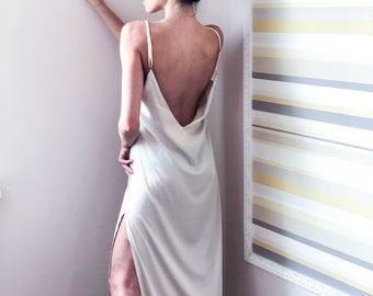 Long Silk Gown With Open Back | Long Silky Nightgown | Silky Slip Dress | Bridal Gown | White Gown | Elegant Dress | Silky Long Gown