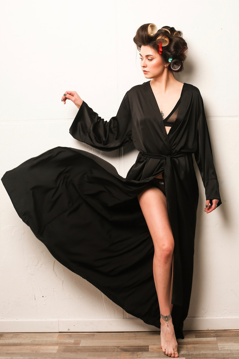 Kimono silk long robe XL robe silk maxi robe Bridesmaid robe plus size kimono   Silk kimono sleeves Boudoir robe