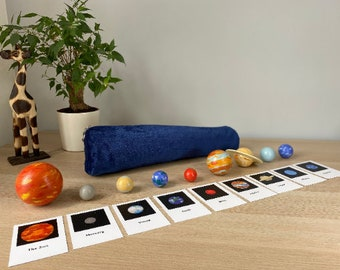 Solar System Figures | Montessori Gift | Space | Montessori Educational Toy | Planets | Home School | 3 Part Card Montessori | Toddler