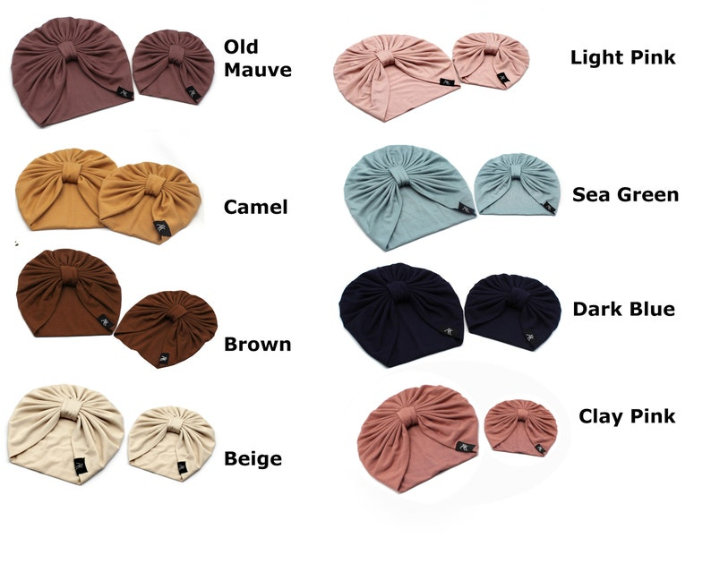 Newborn Baby Turban Double Layer Baby Turban Hat Mommy and me Bamboo Baby Turban See Green Turban You choose the color of your Turban