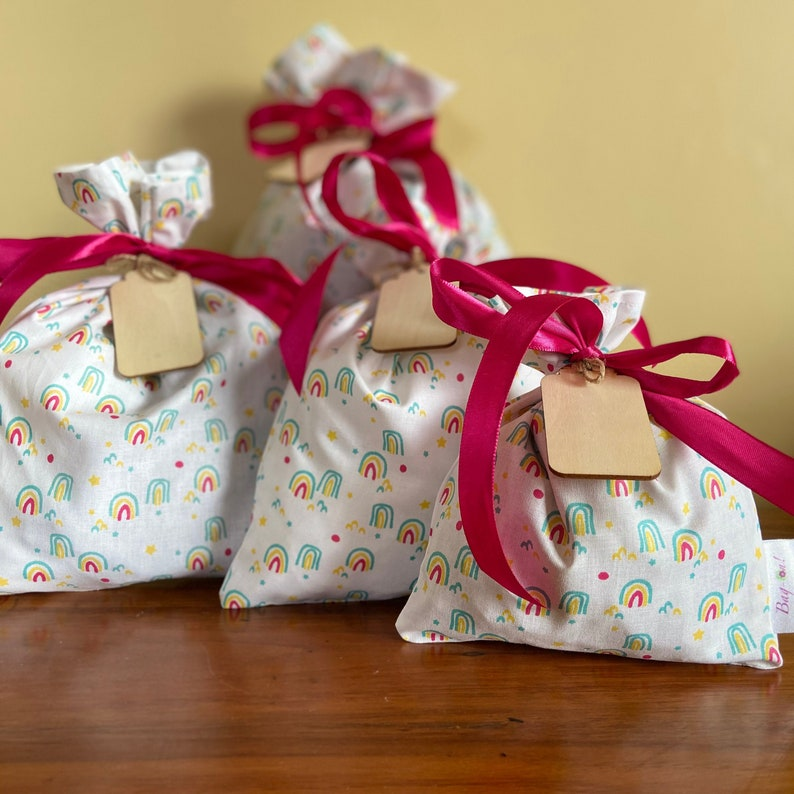 100% Cotton Fabric Gift Bags with wooden gift tag  Rainbows image 0