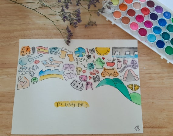 Family Personalised Hand-Drawn Gift