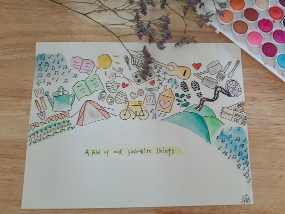 A Few of Our/ My Favourite Things Personalised Hand-Drawn Gift