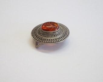 Vintage belt buckle amber look lucite 60th