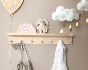 Kids shelf, Shelf with hooks, Shelf with peg rail, Kids nursery shelf, Peg rail, Peg rail with shelf, Wooden peg rack, Wooden peg rail