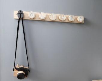 Custom Name Wall Hanger, Personalised Hooks for kids, Name Sign With Hooks, Custom Wall Hooks for kids, Custom kids hooks, Nursery Hooks
