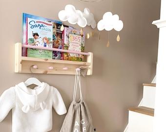 Peg Rail Bookshelf, Kids Bookshelf and Coat Rack Combo, Book Ledge, Picture Ledge, Kids Bookshelves, Kids Shelf, Bookshelves for kids