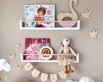 Floating bookshelf for kids (small dowel), Bookshelves for kids, kids bookshelves, nursery bookshelf, kids bookshelf