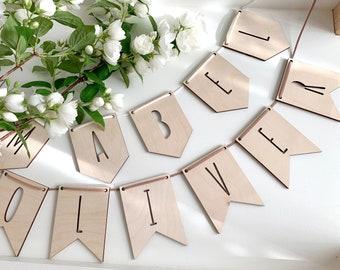 Wooden Letter Pennant, Custom Name Banner Flag, Kids Room Deco, Nursery Deco, Baby Shower Decor, Wood Sign, Custom Name Sign, Laser Cut Name