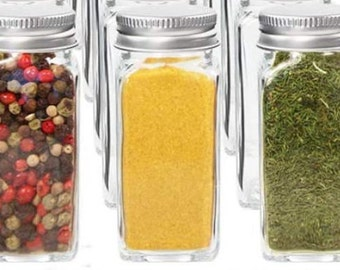 4 oz Square Glass Spice Jars, Empty Square Bottles, Shaker Lids, Airtight Metal Caps, High Quality Lead Free Clear Glass