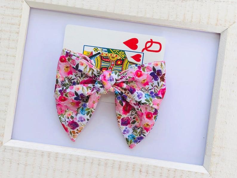 Floral Accessories Baby Headband Girls Hair Bow Secret Garden Hand Tied Fabric Bow Hair Clip