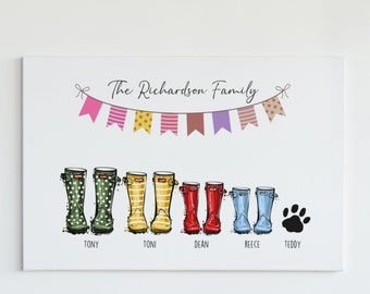 Personalised Family Prints Wellies Boots Gift birthday christmas new home