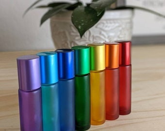 Chakra Oil Roller Bottles 10ml Essential Oil Recipe Cards Rainbow Multi Color Set of 7 Matte Frosted