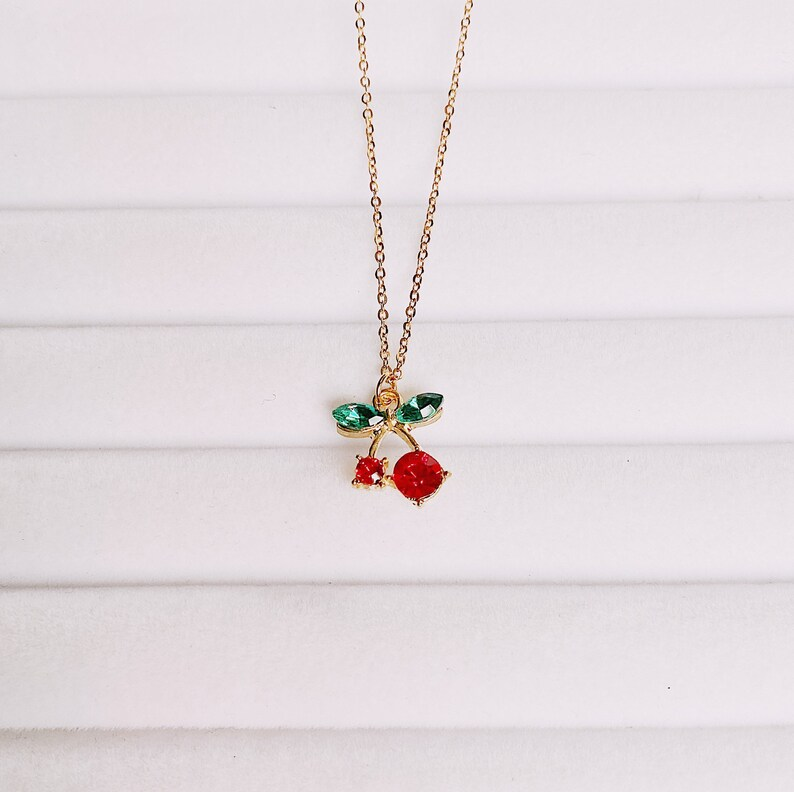 Layering Hypoallergenic Stainless Steel Chain Fruit Cherry Rhinestone Pendant Necklace Gift Idea ACNH