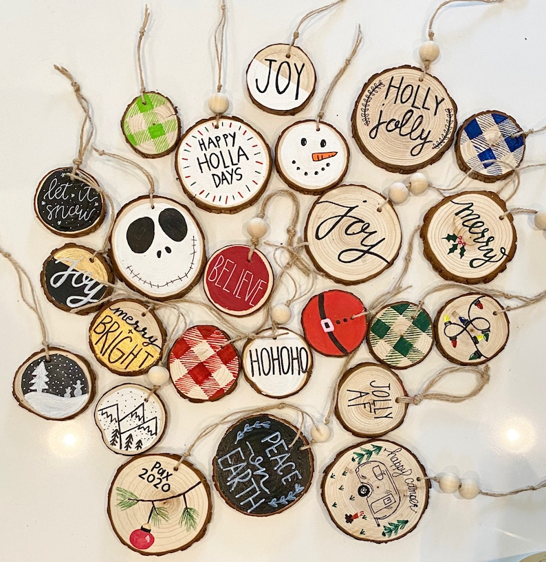 Christmas Tree Ornaments  Wood Ornaments  Farmhouse  Rustic image 0