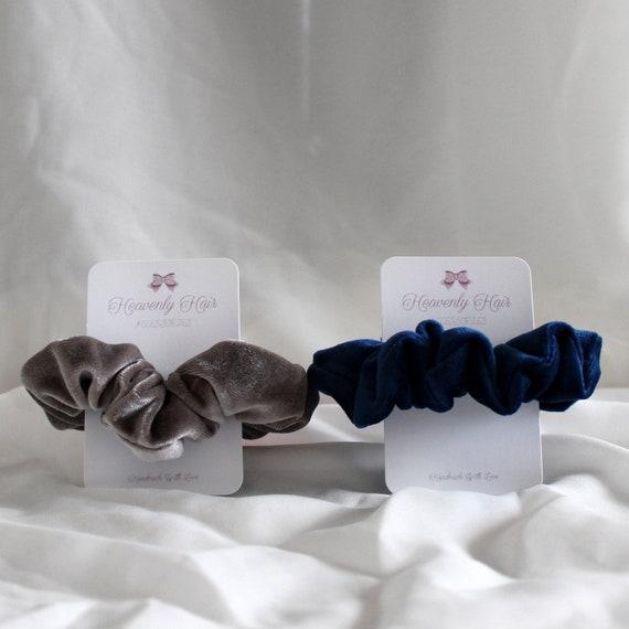 Hair Band // Hair Tie Handmade Blue//White Pom Pom Organza Medium Scrunchie