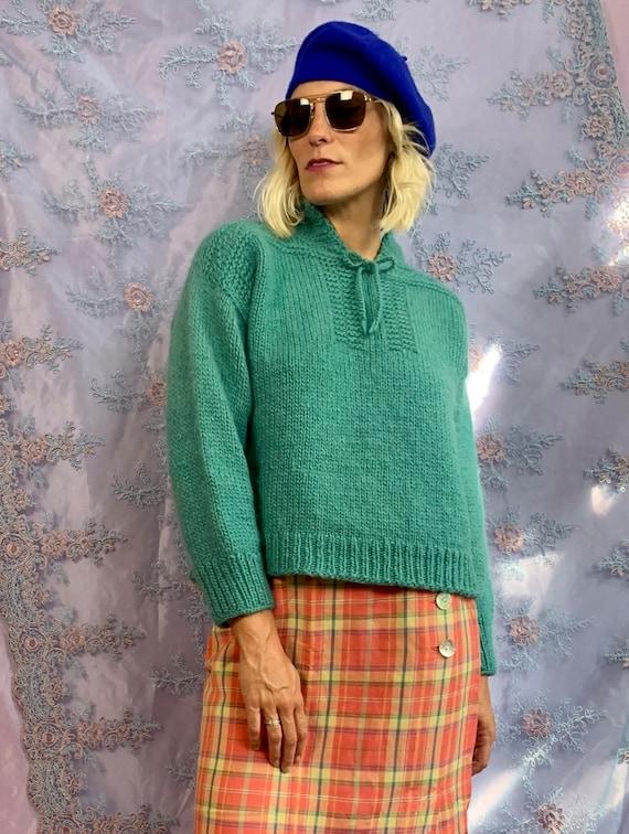 Vintage Handknit Sweater with Tie at Collar   Vint