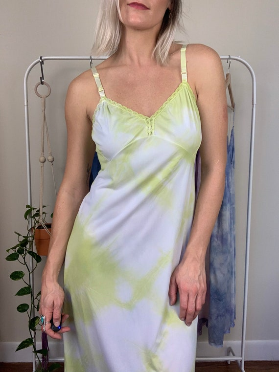 Tie Dye Slip Dress M | Lime Green Slip Dress | Vin