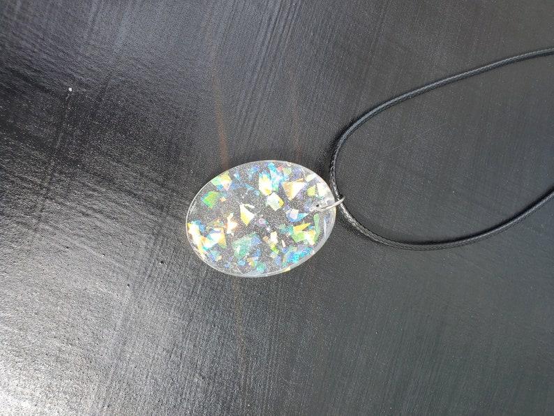Necklace Clear Shiny Oval Pendant