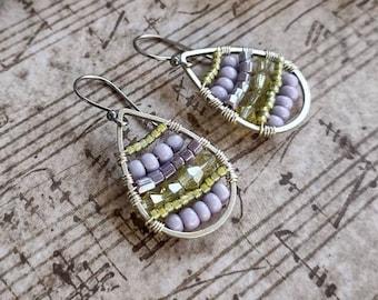 Earrings Handmade Boho cloth earrings wire wrapped bead earrings. 547