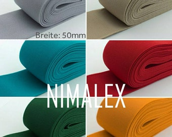 Now in 30 colours: 50 mm wide rubber band, 5 cm wide elastic, for waistband, from 1 meter flat by the meter for clothing, durable and stable