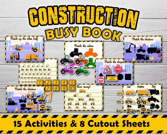 Construction Busy Books preschool toddlers Kit Matching