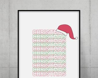 Santa Clause Hat Print
