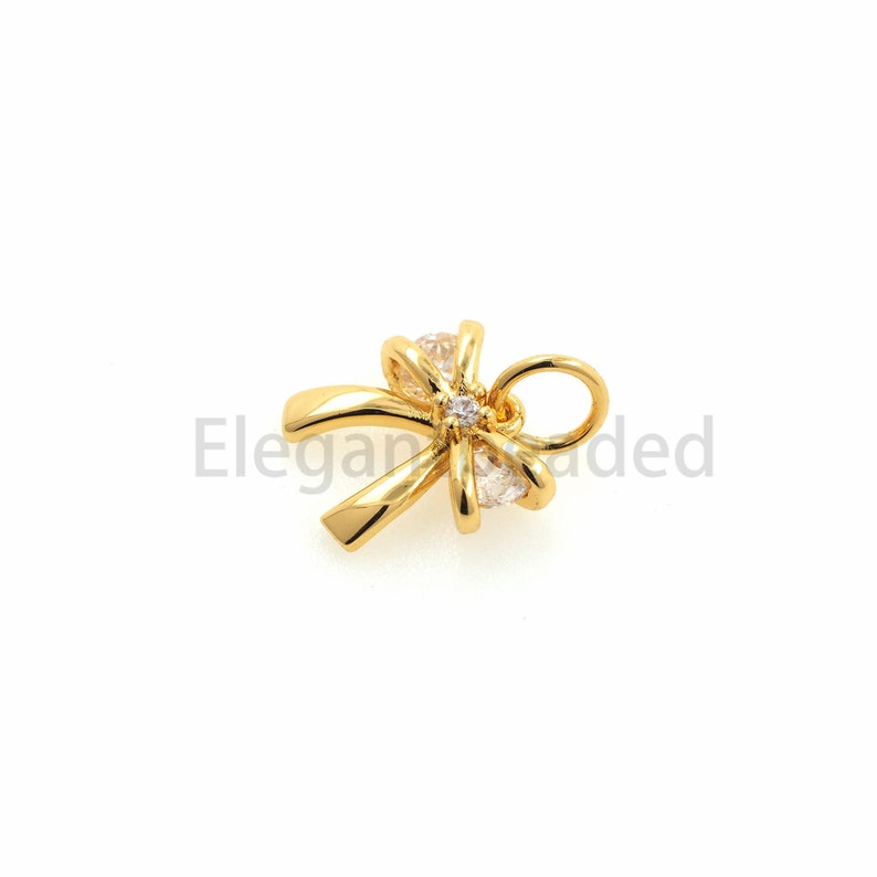 Tiny Bow Necklace Charms-Gold Plated Minimalist DIY Jewelry Findings-Bridesmaid Gift 13x9.7x3.2mm