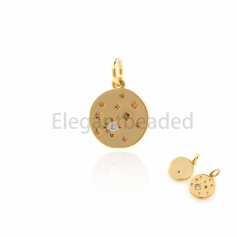 CZ Star Pendant-Best Gift Ideas 16.2x10.8x1.8mm Round Coin Necklace