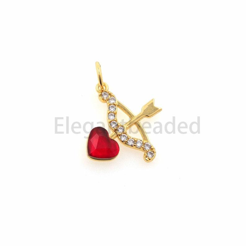 Cupid Bow Arrow Pendant-Bow Arrow Necklace-Unisex Charm Jewelry 19.9x15.2x2.4mm