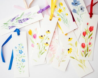 Hand Painted Floral Watercolor Bookmarks with Ribbon