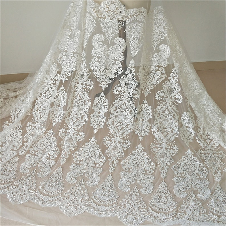 Sell By The Yard Heavy Embroidery Lace Fabric Beaded Lace Fabric for Bridal Wedding DressWedding Gown Exquisite Sequin Lace