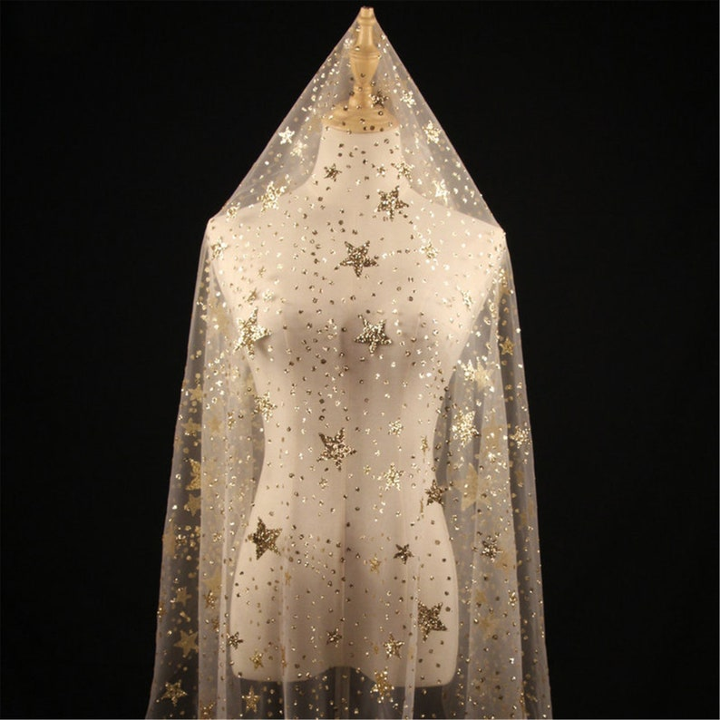 Luxury Stars Lace Fabric Bridal Veil Lace DIY Prom Dress Fabric Wedding Gown Lace Tulle Shiny Lace Shiny Powder Lace Fabric By The Yard