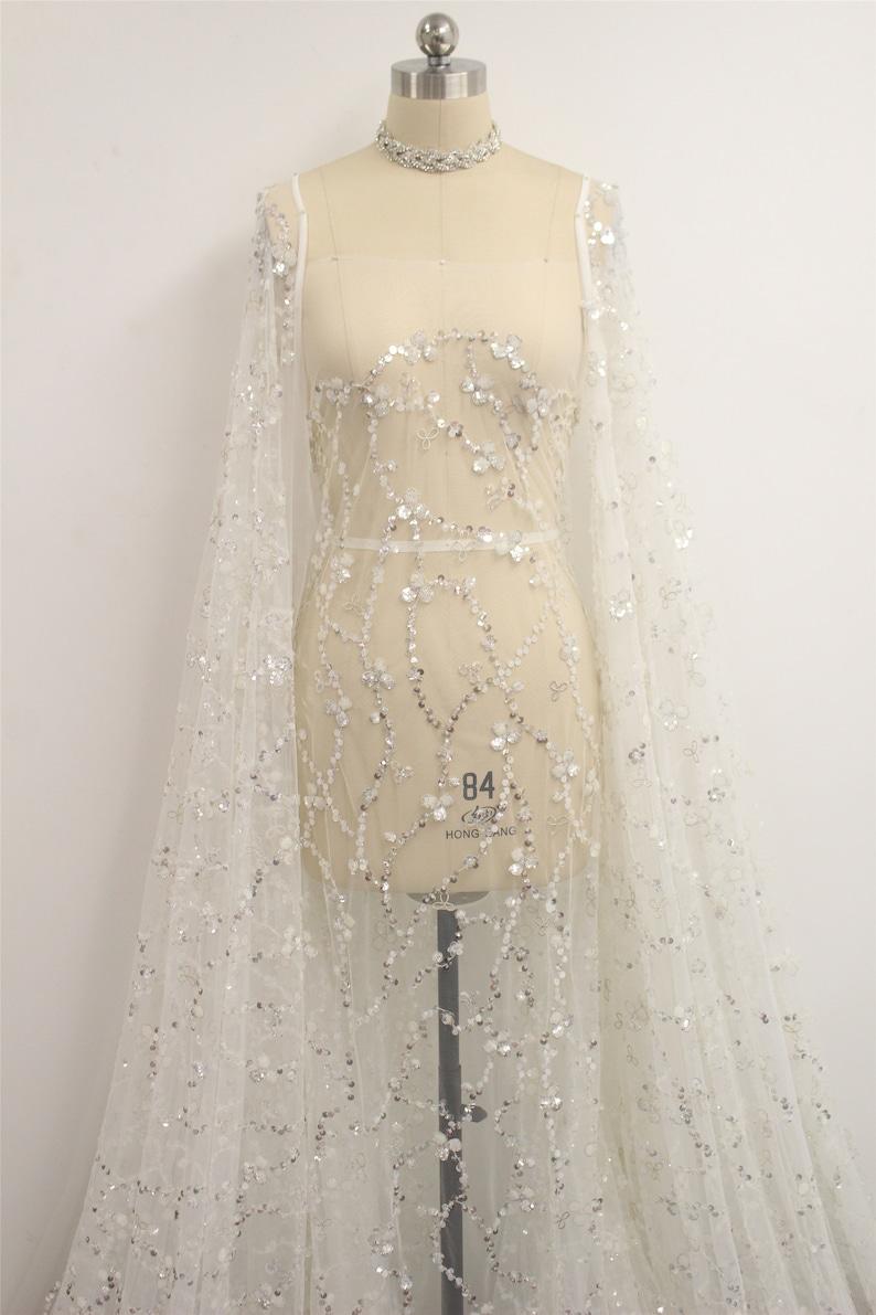 Fashion Wedding Dress Lace Fabric Bridal Gown Lace Fabric New Arrival Sequin Lace Fabric Tulle Lace By The Yard