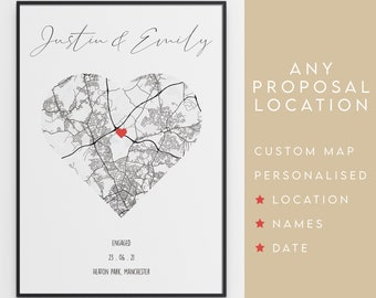 Engagement Gift - Personalised Map Print Of Any Proposal Location - Couples Gift / Present