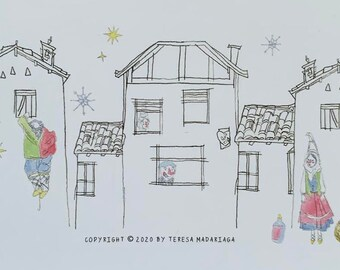 Basque Olentzero & Mari Domingi postcard