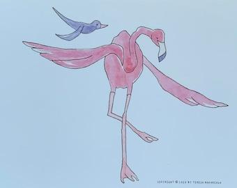 Flamingo and Bird
