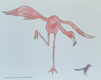Flamingo and Bird postcard