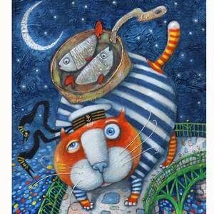 Funny Sea Cat Original Acrylic Painting Cat Wall Art Cartoon by YuryNamestnikoffArt