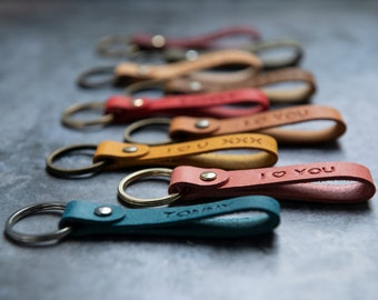 Personalised leather keyring key fob key chain gifts for her and him