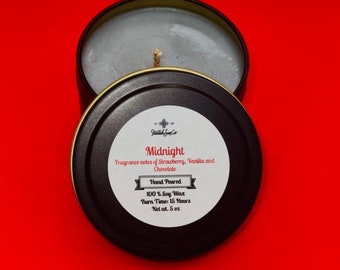 Midnight all natural soy wax candle Fragrance notes of melted milk chocolate , Fresh sweet strawberries and Vanilla