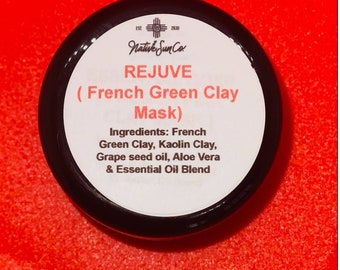 Rejuve Vitamin C brightening  clay face mask for detoxing impurities,  whiteheads and blackheads from the skin with pure aloe vera-2 oz