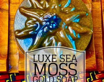 Luxe Golden Sea Moss Soap - for maximum hydration, anti aging, good for all skin types 2oz bars