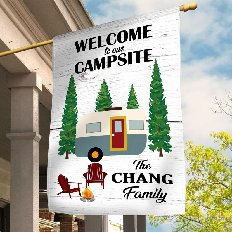 Gearhuman – Welcome To Our Campsite Personalized Family Name Garden Flag