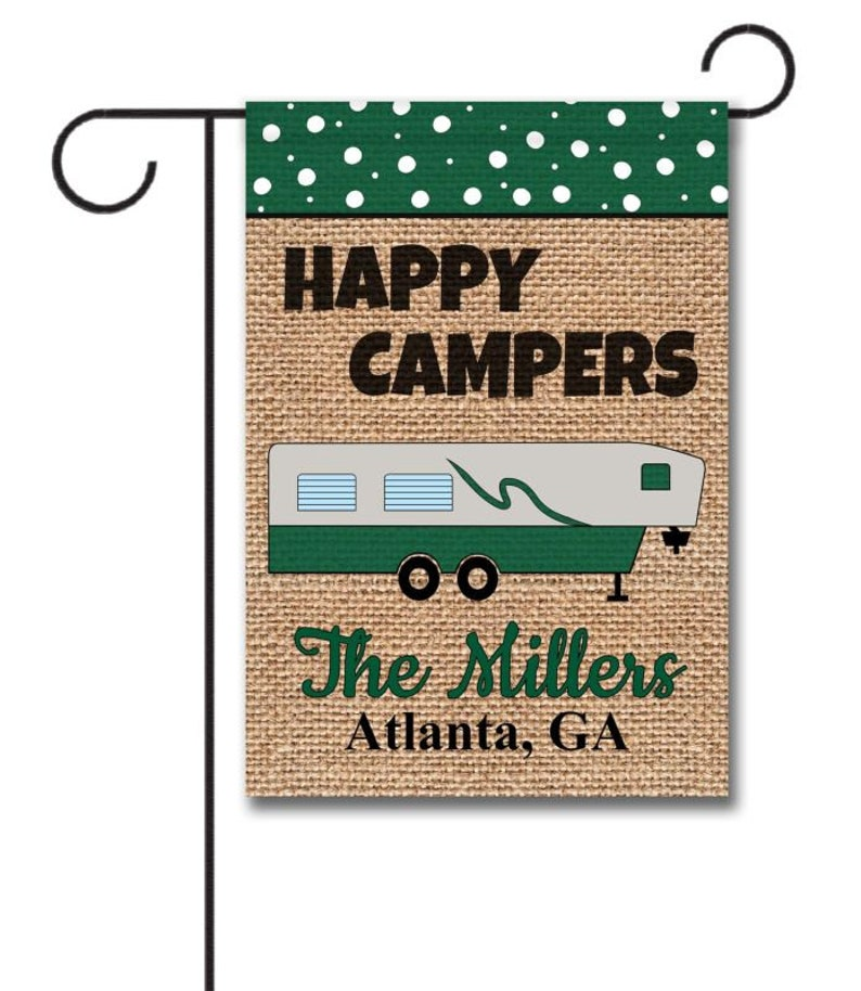 Gearhuman – Happy Campers Personalized Family Name Fifth Wheel House
