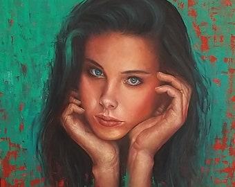 CHOP575 nobility long hair women portrait hand painted oil painting canvas art