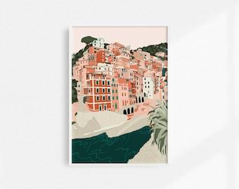 Riomaggiore Print / Cinque Terre Print / Italy print / Italian Coastline Print