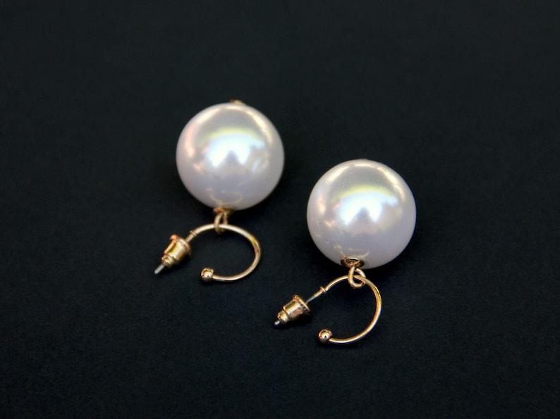 Series BONBONS Earrings Cute Clous Petit Creole Golden Pearl 18mm White