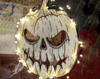 Halloween pumpkin decorative wreath for door and window made of wood with LED lighting